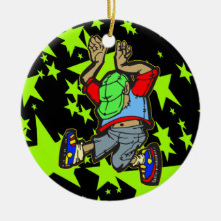 Hip Hop Dance Round Ceramic Decoration