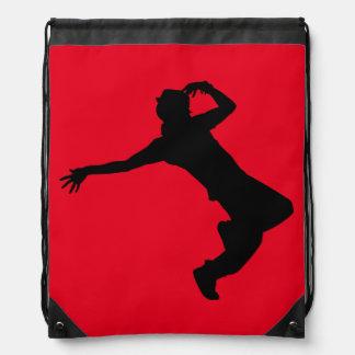 Hip-Hop Dancer Silhouette on Drawstring Backpack