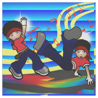 Hip Hop Dancing Kids Print Blue Fabric