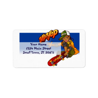 Hip Hop girl skateboard Cartoon Address Label