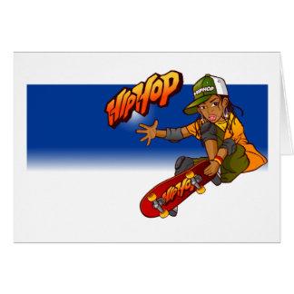Hip Hop girl skateboard Cartoon Greeting Card