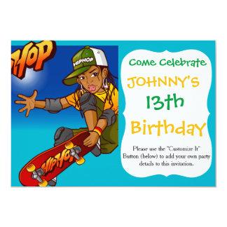 Hip Hop girl skateboard Cartoon 13 Cm X 18 Cm Invitation Card