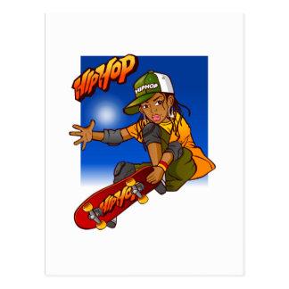 Hip Hop girl skateboard Cartoon Postcard