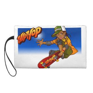 Hip Hop girl skateboard Cartoon Wristlet