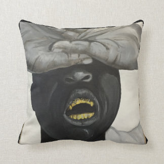 Hip Hop Gold Grill, Black and White throw pillow
