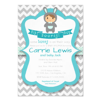 Hip Hop Hooray Bunny Boy Baby Shower Invitation