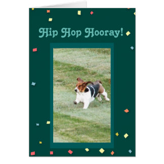 """Hip Hop Hooray"" Funny Birthday Card w/Cute Basset"