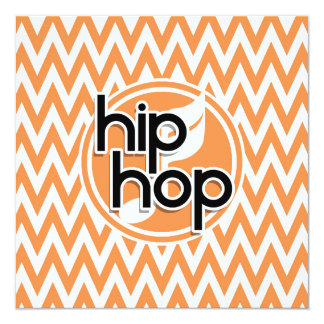 Hip Hop; Orange and White Chevron Invites