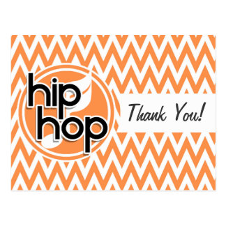 Hip Hop Orange and White Chevron Post Card