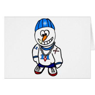 Hip Hop Rapper Chrsitmas Snowman Greeting Card