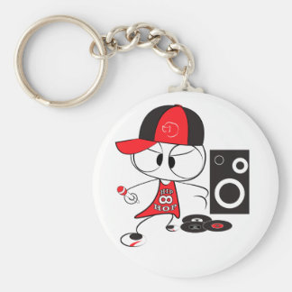 Hip hop rapper doll basic round button key ring