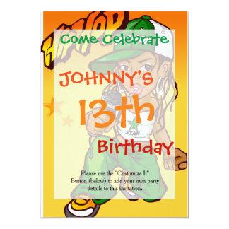 hip hop rapper girl green orange cartoon 13 cm x 18 cm invitation card