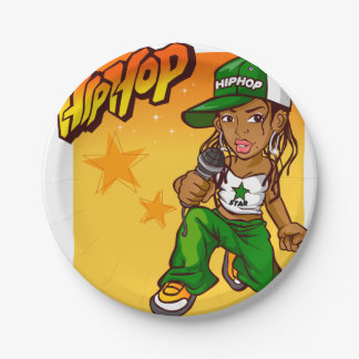 hip hop rapper girl green orange cartoon 7 inch paper plate