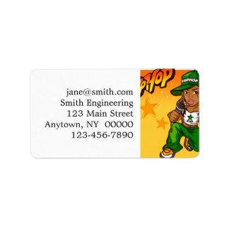 hip hop rapper girl green orange cartoon address label