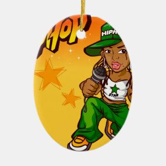hip hop rapper girl green orange cartoon ceramic oval decoration