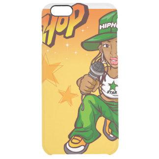 hip hop rapper girl green orange cartoon clear iPhone 6 plus case