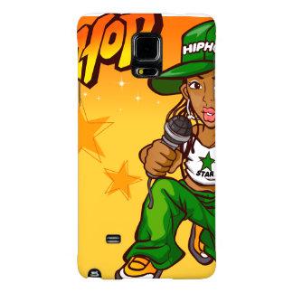 hip hop rapper girl green orange cartoon galaxy note 4 case