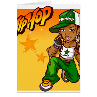 hip hop rapper girl green orange cartoon greeting card