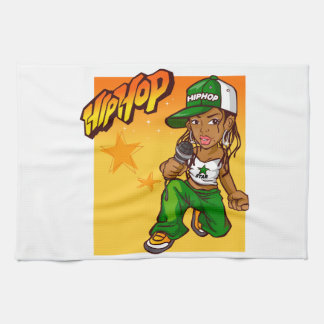hip hop rapper girl green orange cartoon hand towels
