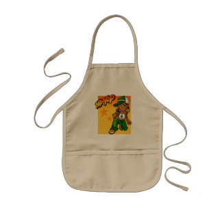 hip hop rapper girl green orange cartoon kids apron