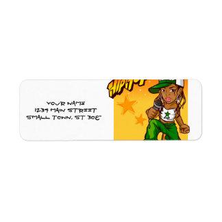 hip hop rapper girl green orange cartoon return address label