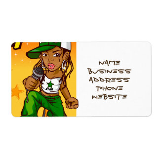 hip hop rapper girl green orange cartoon shipping label