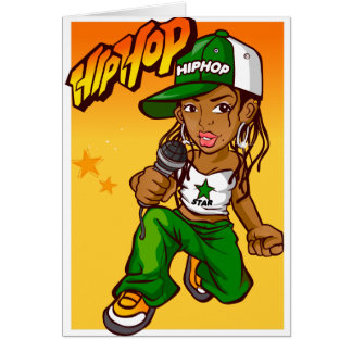 Hip Hop Rapper Girl Green Orange Cartoon Note Card