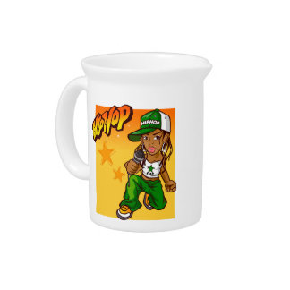 hip hop rapper girl green orange cartoon pitchers