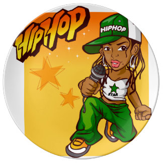hip hop rapper girl green orange cartoon porcelain plate