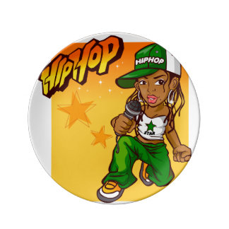 hip hop rapper girl green orange cartoon porcelain plates