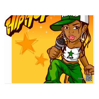 hip hop rapper girl green orange cartoon postcard