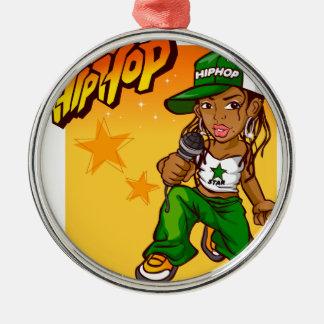 hip hop rapper girl green orange cartoon Silver-Colored round decoration