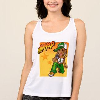hip hop rapper girl green orange cartoon singlet