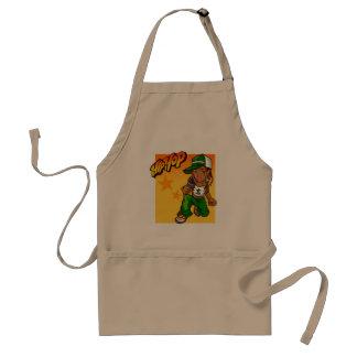 hip hop rapper girl green orange cartoon standard apron