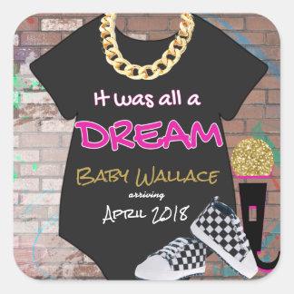 Hip Hop throwback Baby Shower Favor Sticker