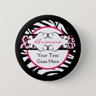Hip Hot Pink and Black Animal Print Button