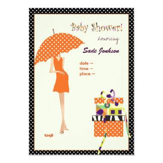 Hip Mama Baby Shower/ orange/ polka dots Card