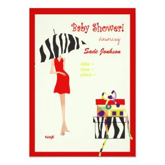 Hip Mama Baby Shower/ red dress / zebra stripes 13 Cm X 18 Cm Invitation Card