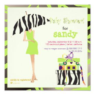 Hip mama, lime green zebra baby shower card