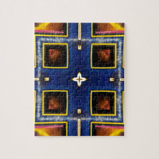 Hip Masculine Blue Geometric Pattern Jigsaw Puzzle