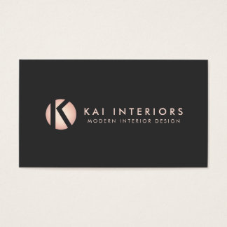 Hip Modern Rose Gold Monogram Designer Black Business Card