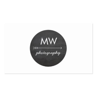 Hip Monogram Arrow Chalkboard Circle Business Card Templates