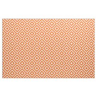 Hip Orange Ikat Diamond Squares Mosaic Pattern Fabric