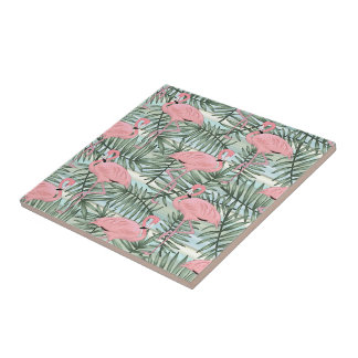 Hip Pink Flamingoes Cute Palm Leafs Pattern Ceramic Tile