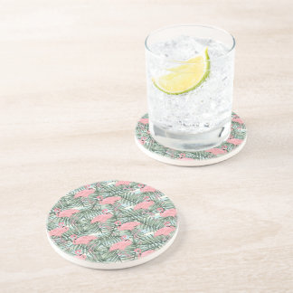 Hip Pink Flamingoes Cute Palm Leafs Pattern Coaster