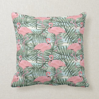 Hip Pink Flamingoes Cute Palm Leafs Pattern Cushion