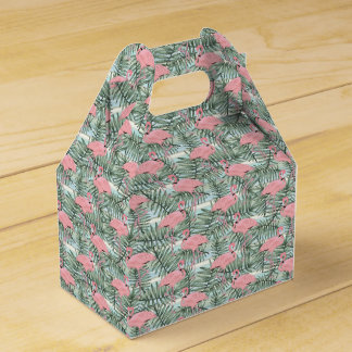 Hip Pink Flamingoes Cute Palm Leafs Pattern Favour Box