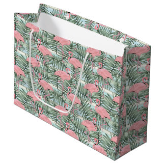 Hip Pink Flamingoes Cute Palm Leafs Pattern Large Gift Bag