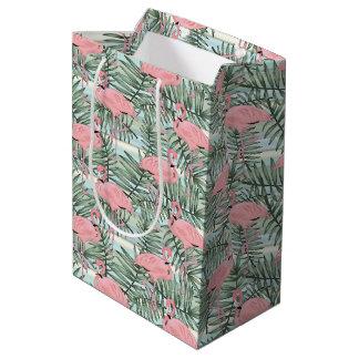 Hip Pink Flamingoes Cute Palm Leafs Pattern Medium Gift Bag