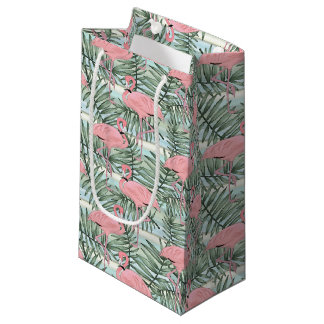 Hip Pink Flamingoes Cute Palm Leafs Pattern Small Gift Bag